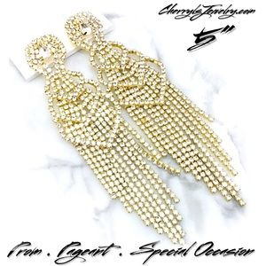 """Jewelry - Show Stopping Long 5"""" Rhinestone Event Earrings"""